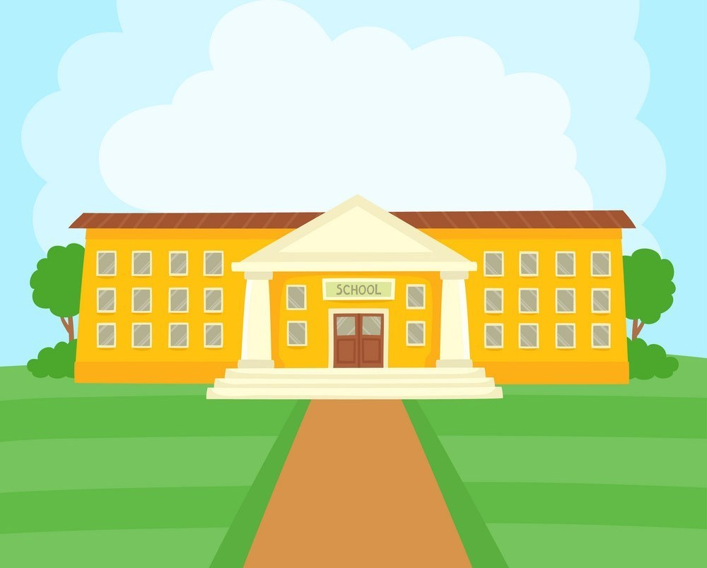 Color vector illustration of school building on grass for school banner or poster design.